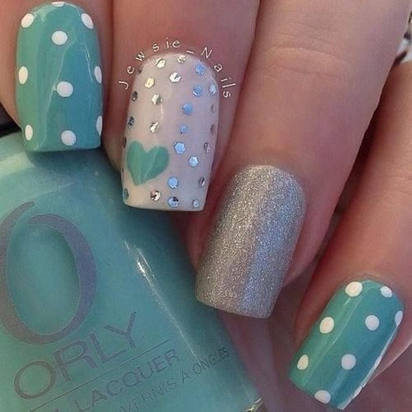 Green and Silver Polka Dots Nail Art Design