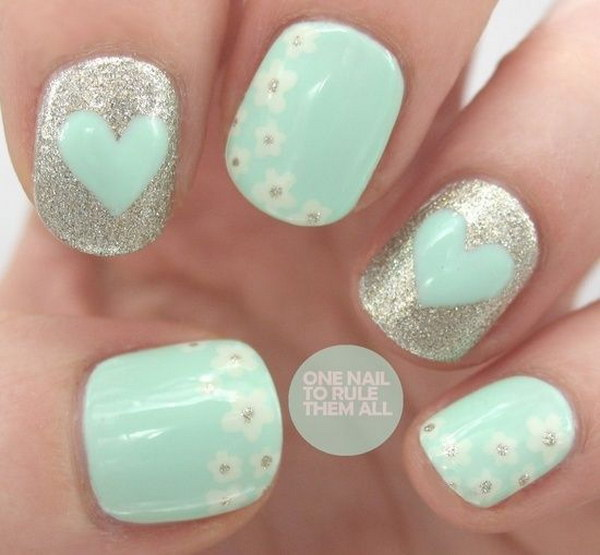 Mint Green Heart Nail Polish for Valentine - 100+ Awesome Green Nail Art Designs