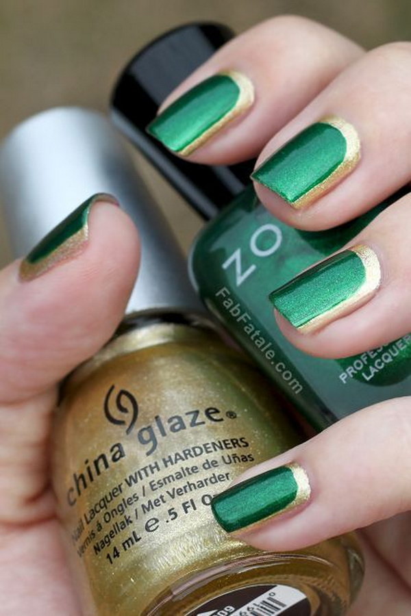 Gold Outlined Emerald Nail Art Design