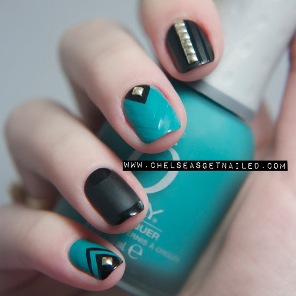 100 awesome green nail art designs matte turquoise studded nail art design prinsesfo Choice Image