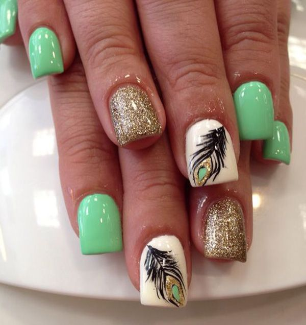 100 awesome green nail art designs olive green gold glitter and feather nail art prinsesfo Gallery