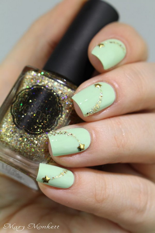 Lovely Mint Nails with Shooting Stars Accents