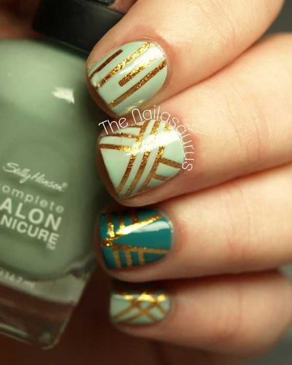 100 awesome green nail art designs green and gold geometric nail designs with nail tape prinsesfo Choice Image