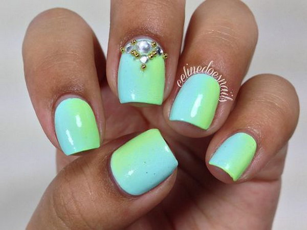 Green Gradient Nails with Bead and Rhinestone Accent