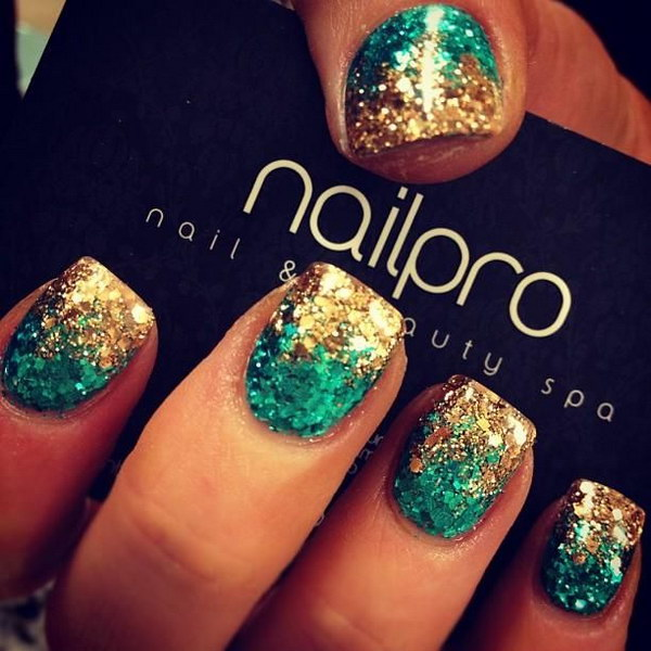 Teal Green and Gold Nail Art Design