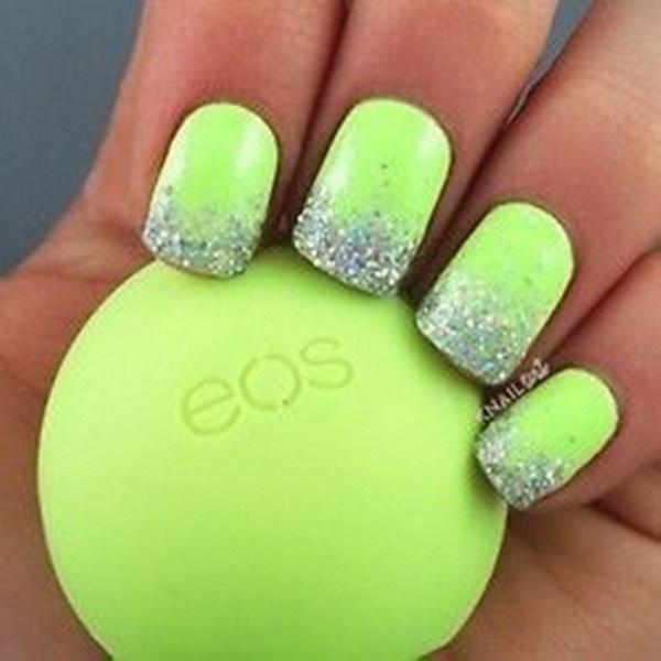 100 awesome green nail art designs glitter tips lime green nail design prinsesfo Images