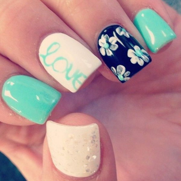 Green, White and Black Nail Art with Flower, Glitter Love Details