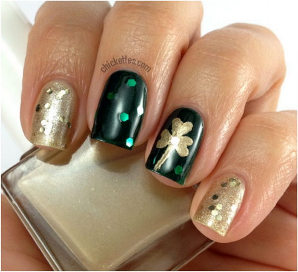 Deep Green and Gold Base Shamrock Nails
