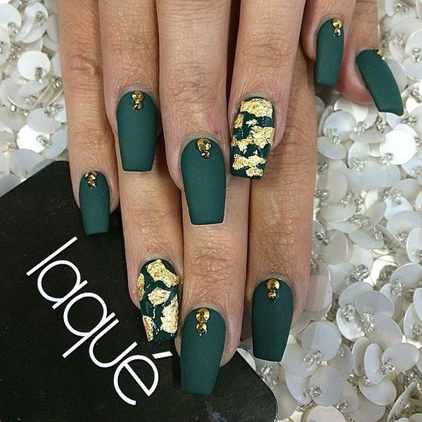 Flat Forest Green Nails with Foil and Crystal Accent on Top of Each Nail