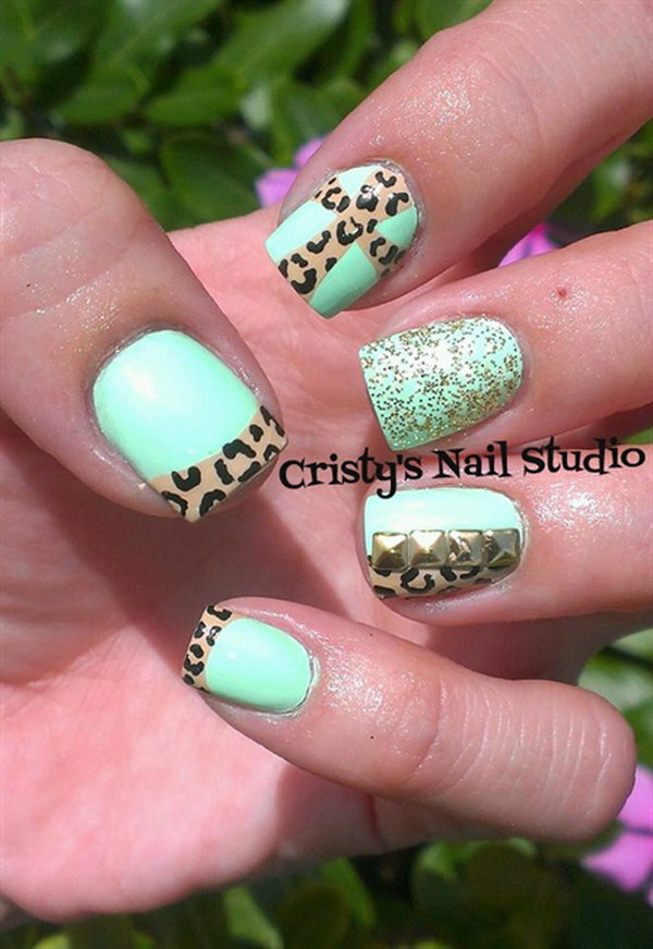 Mint Green Nails with Cheetah Cross