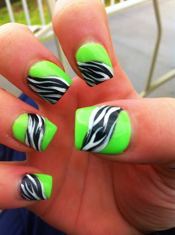 Lime Green And Black Nail Designs 60