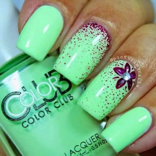 100 awesome green nail art designs light green and purple nail polish prinsesfo Images