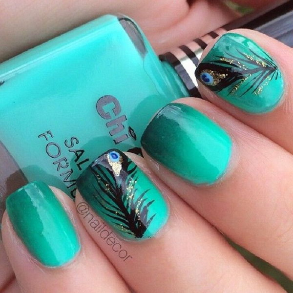 Green Peacock Feather Nail Art Design