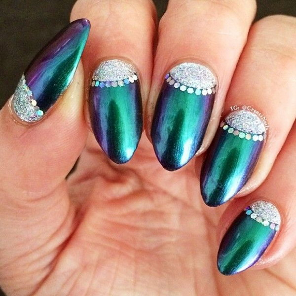 Gorgeous Half Moon Emerald Green and Silver Nail Art