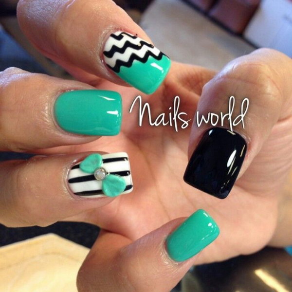 Mint and Black Nails with 3D Bow Accent - 100+ Awesome Green Nail Art Designs