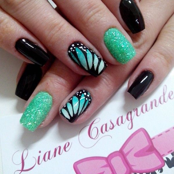 100+ Awesome Gr... French Tip Nail Designs With Glitter