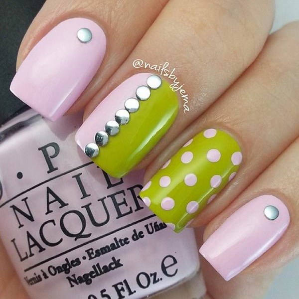 100 awesome green nail art designs light pink and green nail design prinsesfo Gallery