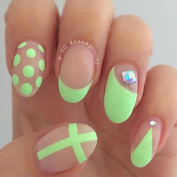 Cute Neon Green Nail Art with Polka Dot, French Tip and Cross