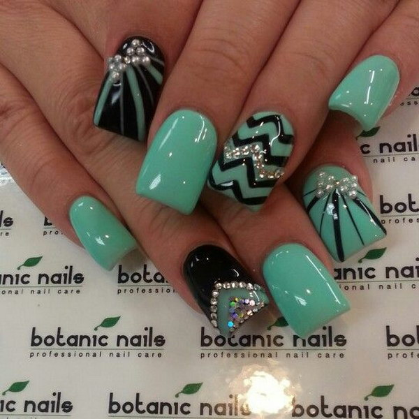 Minty Green Base with Black and Silver Glitter Details, Rhinestones and  Pearls - 100+ Awesome Green Nail Art Designs