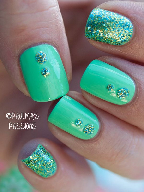 100 awesome green nail art designs green glitter nail art design prinsesfo Choice Image