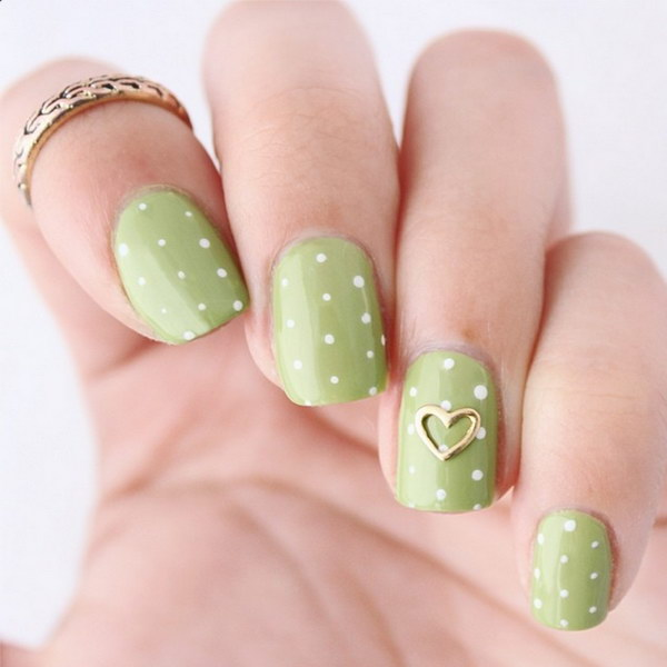 Olive Green Polka Dots Nail Art Design