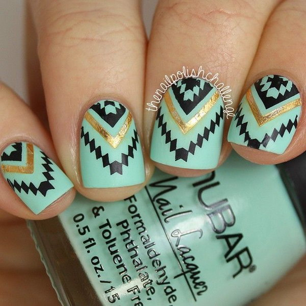 Beautiful Green, Black and Gold Tribal Nails