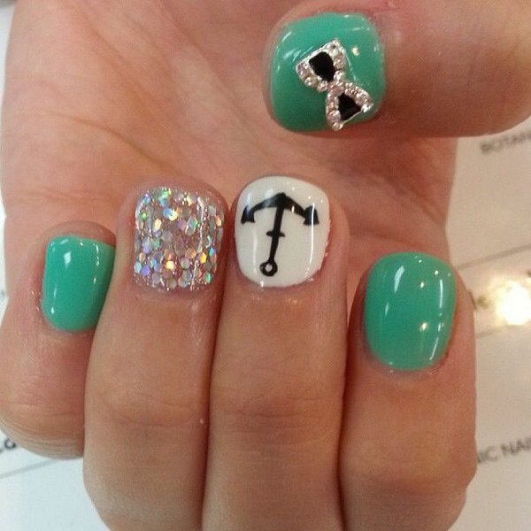 100 awesome green nail art designs sea green colored fetching bow sailor nails prinsesfo Gallery