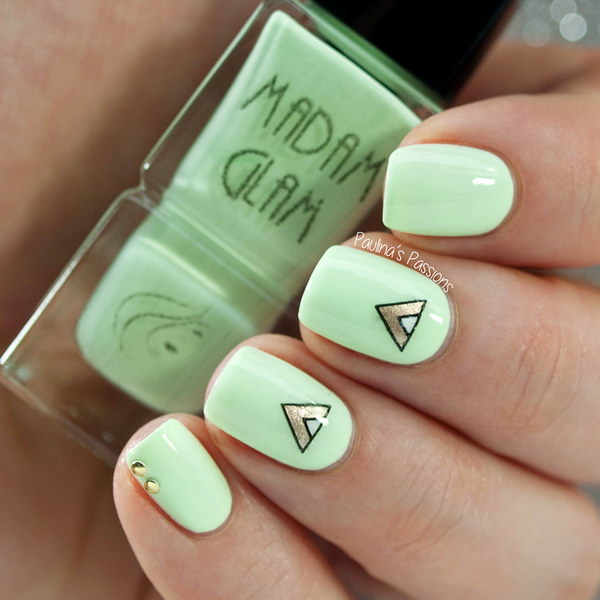 Light Green Nail Art Design With Geometric Stamping Decals