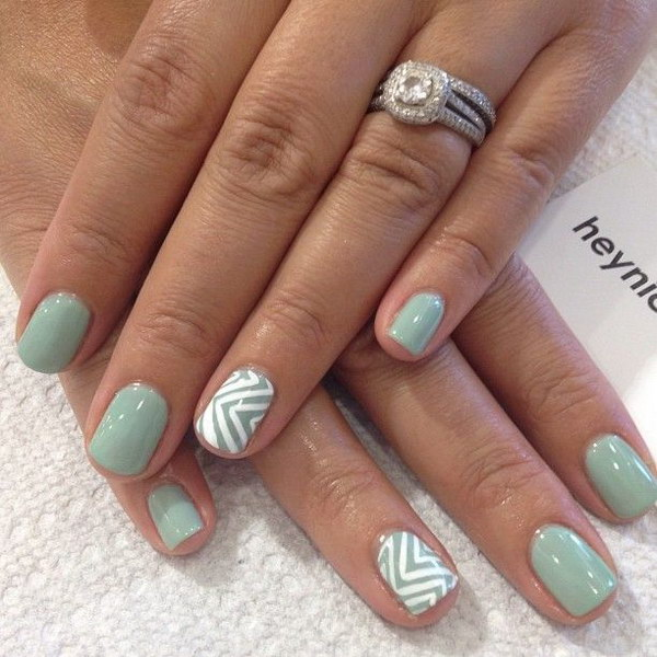 Gray Green Zig Zags Nail Art Design