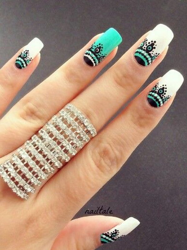 Fashionable Green and White Nail Art Design - 100+ Awesome Green Nail Art Designs