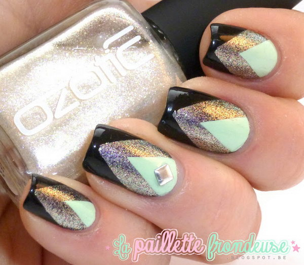 Black Silver And Mint Chevron Nails