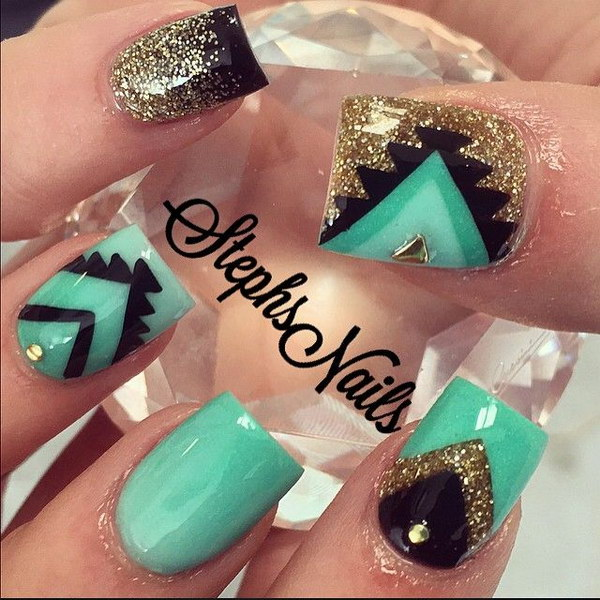 Jade Green, Gold and Black Tribal Nails