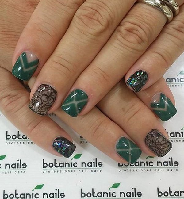 Elegant Green and Black Nails with Multi Colored Sequins - 100+ Awesome Green Nail Art Designs