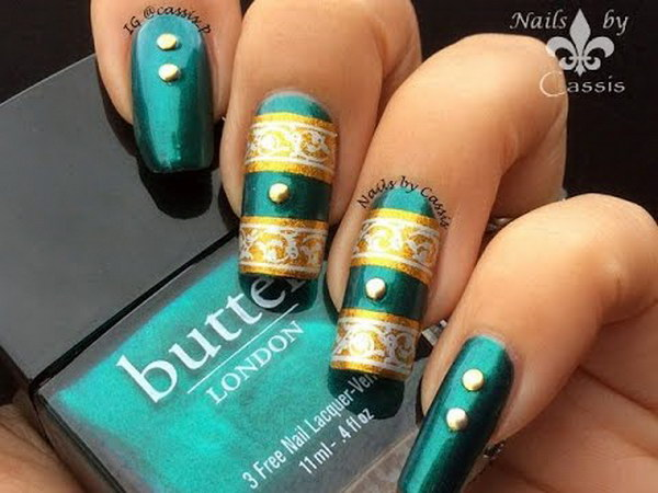 Gorgeous Gold and Silver Strip Stamping Nail Art