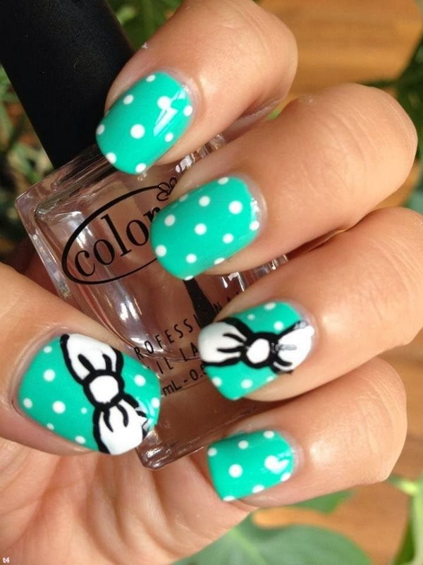 Cute Polka Dots and Bows Nail Art Design