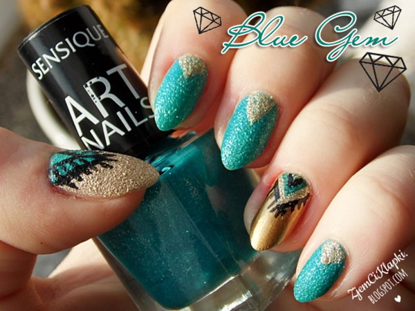 100 awesome green nail art designs almond turquoise gem nail art prinsesfo Gallery
