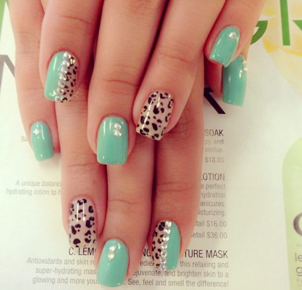 100 awesome green nail art designs cute cheetah print with mint color and rhinestones nail art solutioingenieria Choice Image