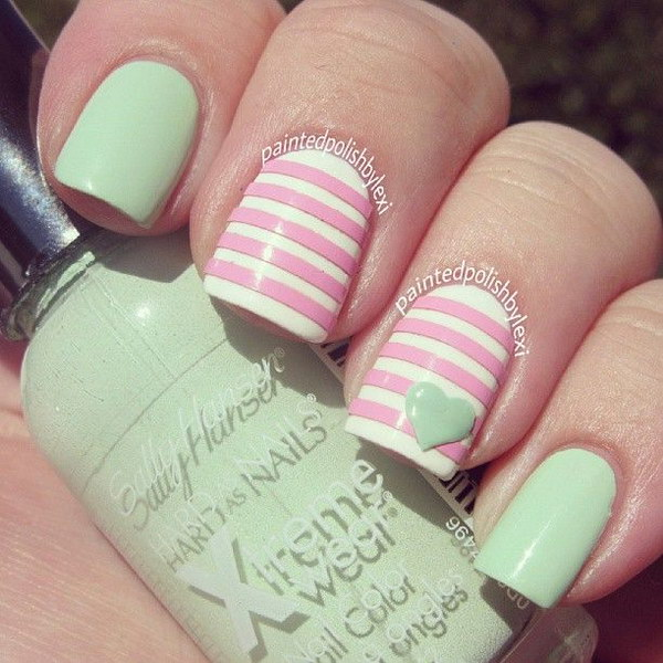 Mint Green and Light Pink Pastel Nail Art Design