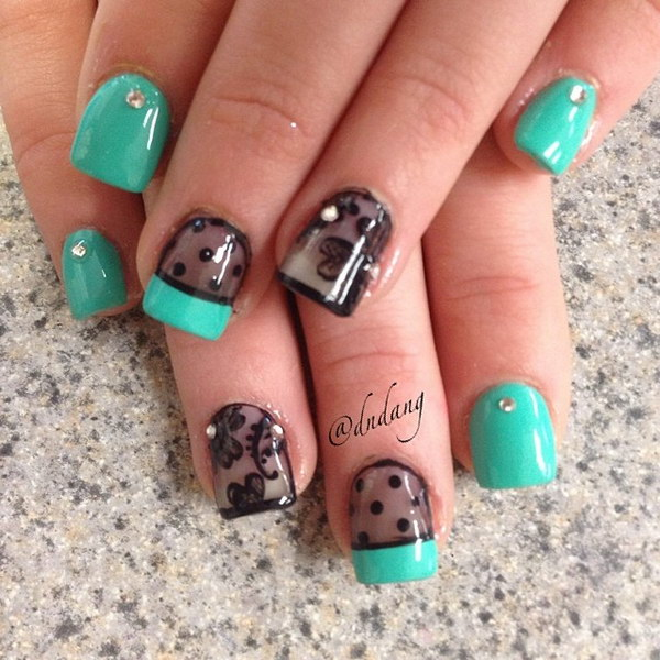 100 awesome green nail art designs green and black gel nail art design prinsesfo Image collections