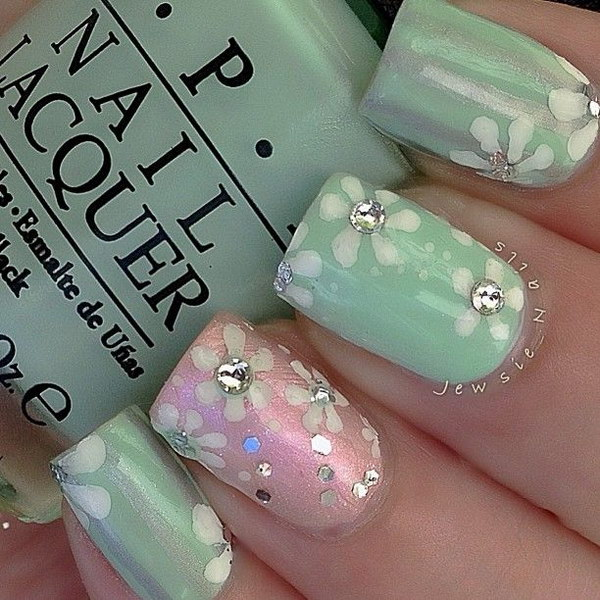 Pastel Flower Nail Art Design