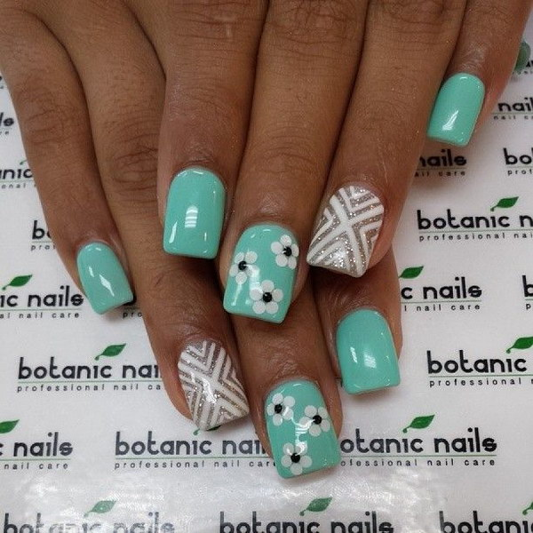 Green, White and Silver Flower Nails