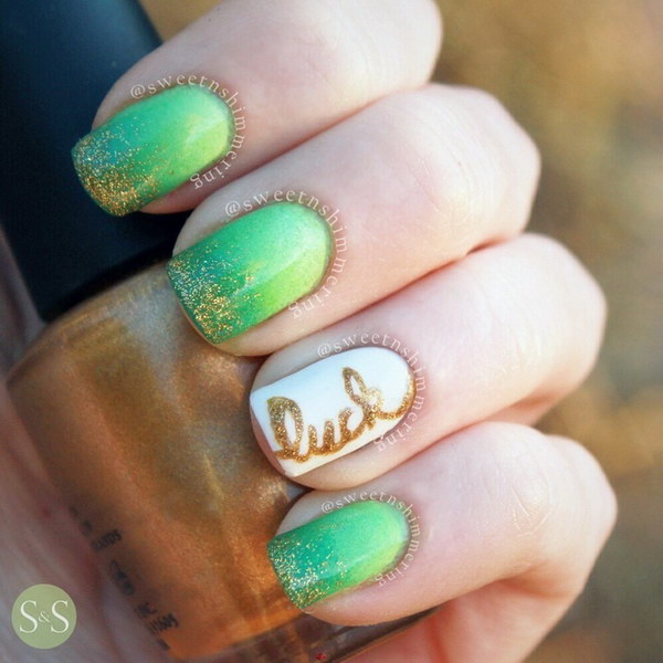 Gradient Green Glitter Nail Art Design