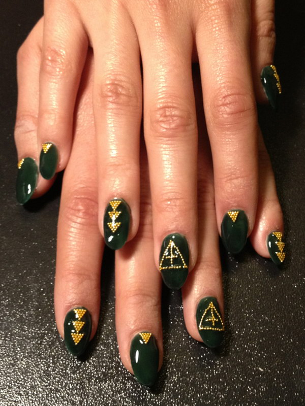 Trendy Dark Green Nails with Gold Triangles - 100+ Awesome Green Nail Art Designs