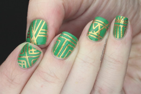 OPI Green and Gold Striping Tape Geometric Nail Art Design
