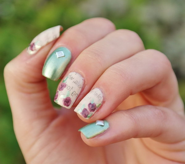 Mint Green with Newspaper and Rose Nail Art