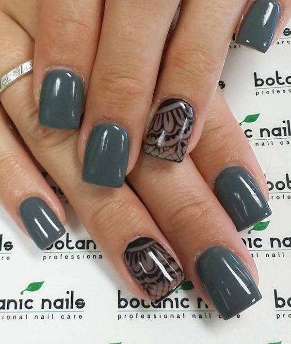Matte Army Green Lace Nail Art Design