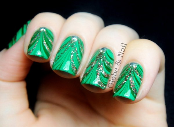 Green and Glitter Christmas Tree Nail Art Design with Star Rhinestones
