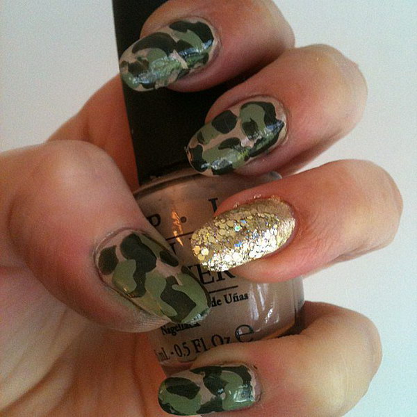 Camo Nails with a Flash of Gold Polish