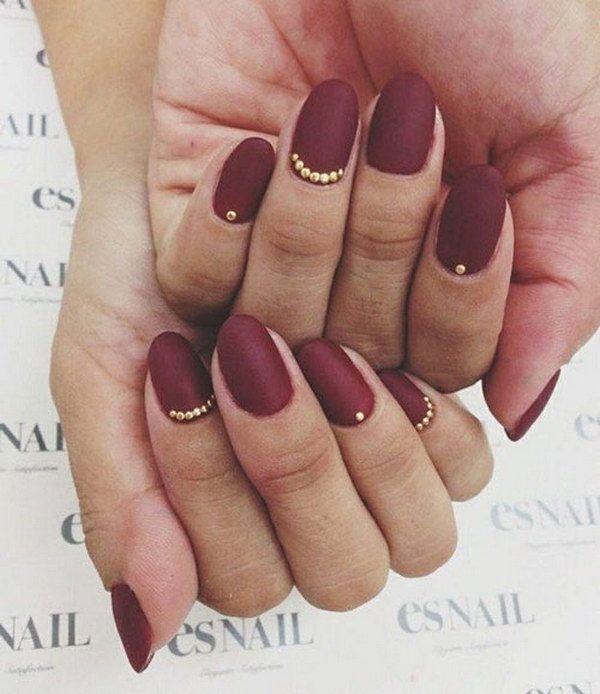 Dark Red Matte Nails with Gold Details.