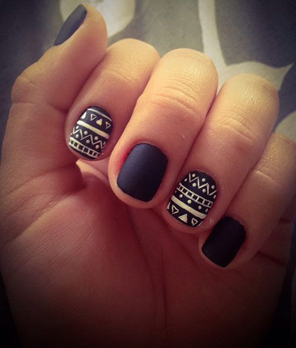 60 pretty matte nail designs black matte aztec nails prinsesfo Images